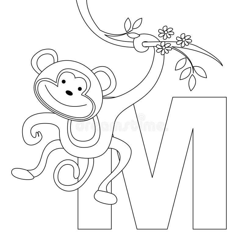 sida för färgläggning M för alfabet djur