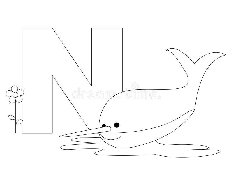 sida för färgläggning n för alfabet djur vektor illustrationer