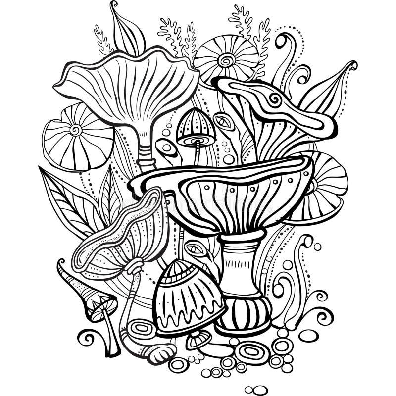 Sida för färgläggningbok för vuxen människa med champinjoner royaltyfri illustrationer