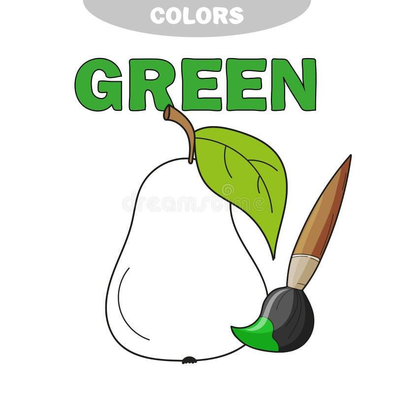 Sida för färgläggningbok för förskole- barn med översikter av päronet royaltyfri illustrationer