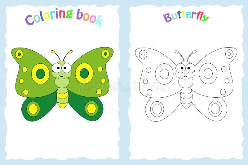 Sida för färgläggningbok för förskole- barn med färgrik butterfl vektor illustrationer