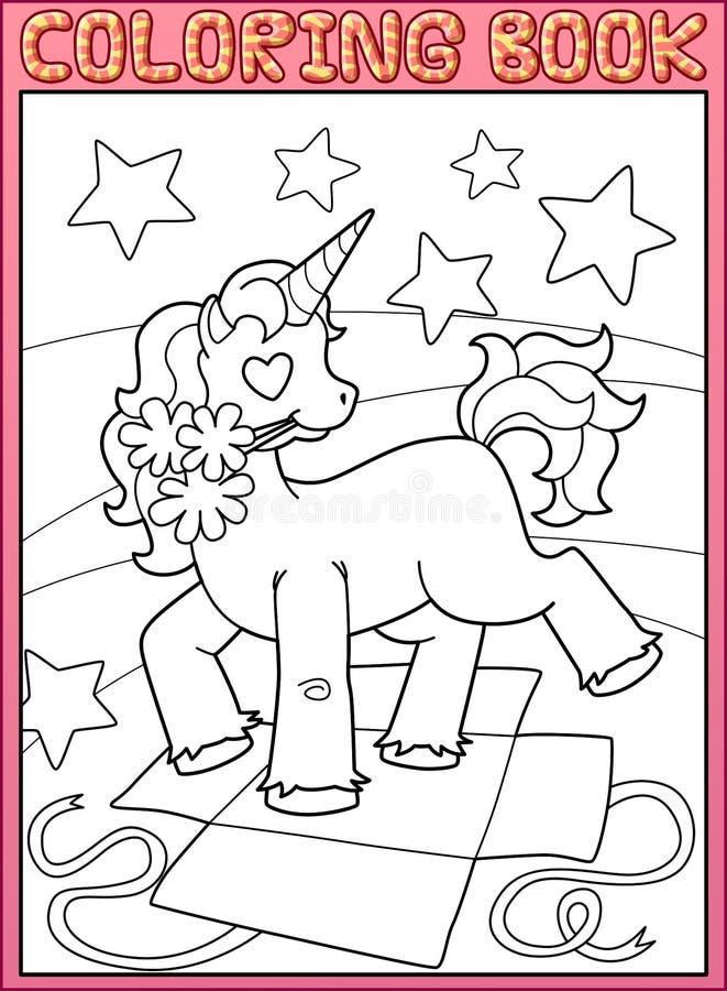 Sida för färgläggningbok Litet Unicorn Birthday parti vektor illustrationer