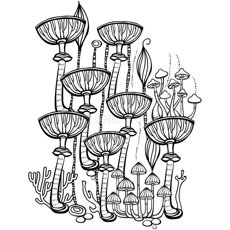 Sida för färgläggningbok med champinjoner royaltyfri illustrationer