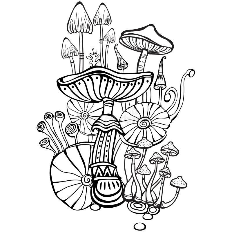 Sida för färgläggningbok med champinjoner stock illustrationer