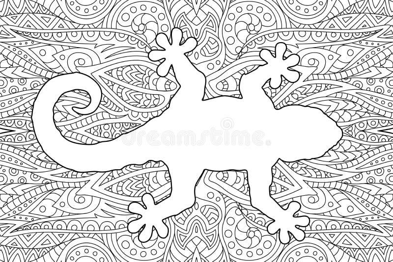 Sida för färgläggningbok med den vita geckokonturn vektor illustrationer