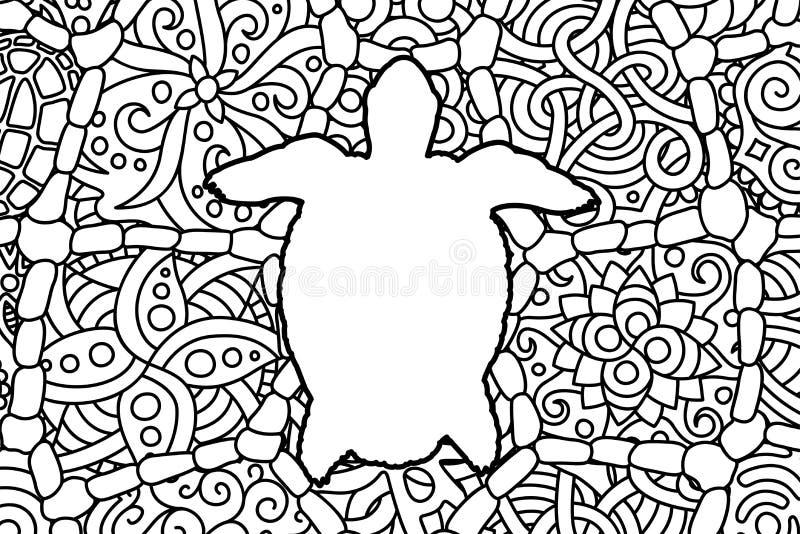 Sida för färgläggningbok med den vita konturn för sköldpadda stock illustrationer