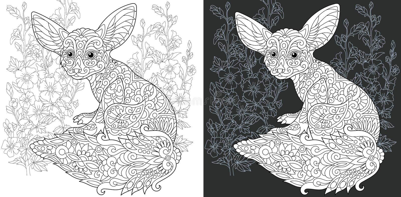 Sida för färgläggningbok med fenecräven royaltyfri illustrationer
