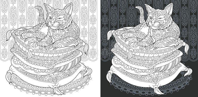 Sida för färgläggningbok med katten vektor illustrationer