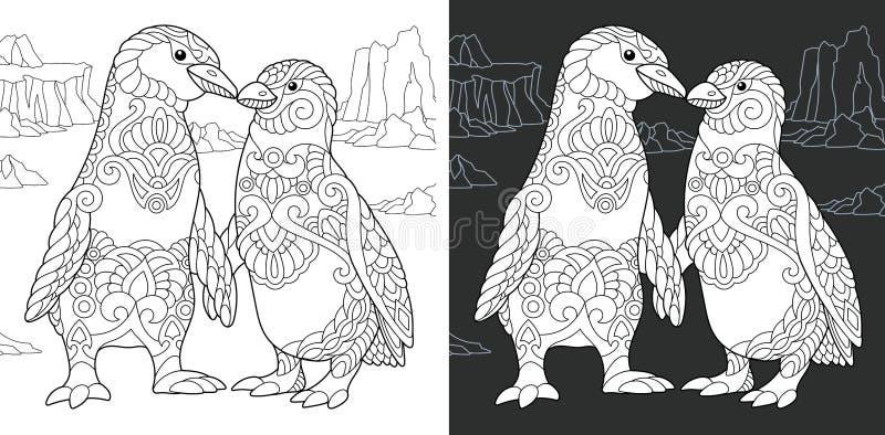Sida för färgläggningbok med pingvinpar stock illustrationer