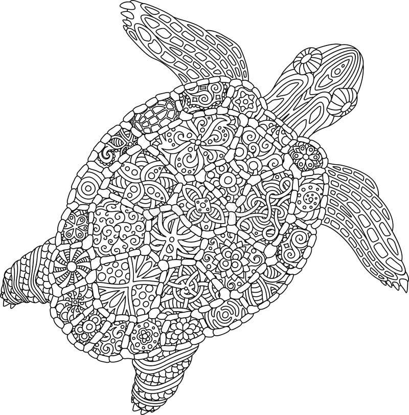 Sida för färgläggningbok med sköldpaddan på vit bakgrund vektor illustrationer