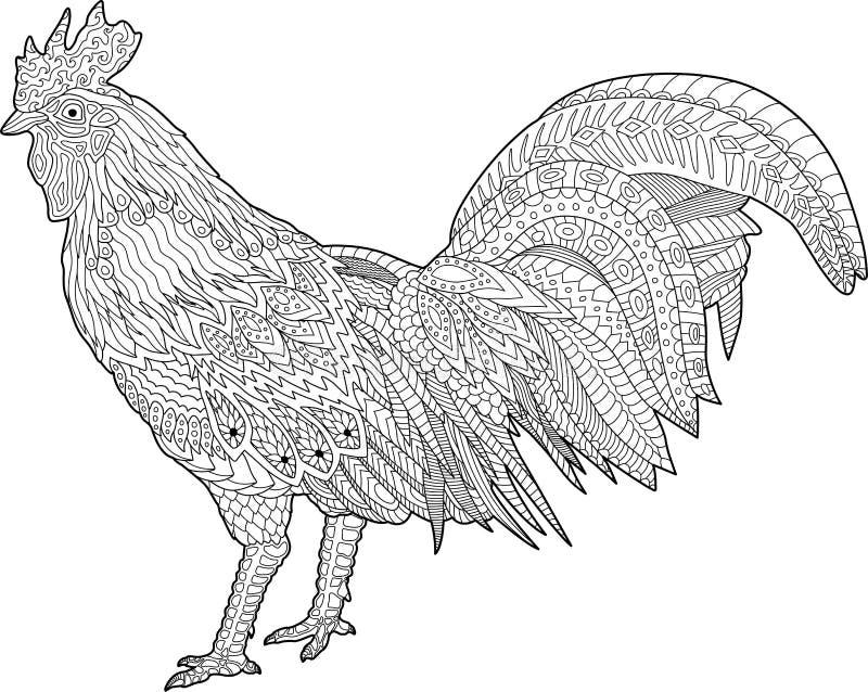 Sida för färgläggningbok med tuppen royaltyfri illustrationer