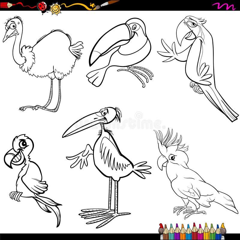Sida för fågeltecknad filmfärgläggning stock illustrationer
