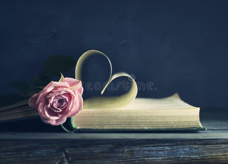 Sida för gammal bok med enformad dag för valentin` s och en rosa färgros royaltyfri foto