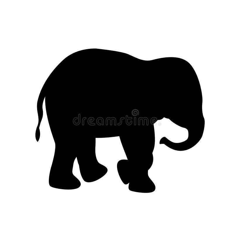 Sida för kontur för svart för elefantvektorillustration stock illustrationer