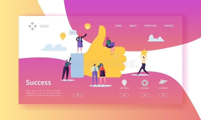 Sida för landning för affärsframgång Lyckade Team Work Concept med plana tecken i sökande av den idérika idén website royaltyfri illustrationer