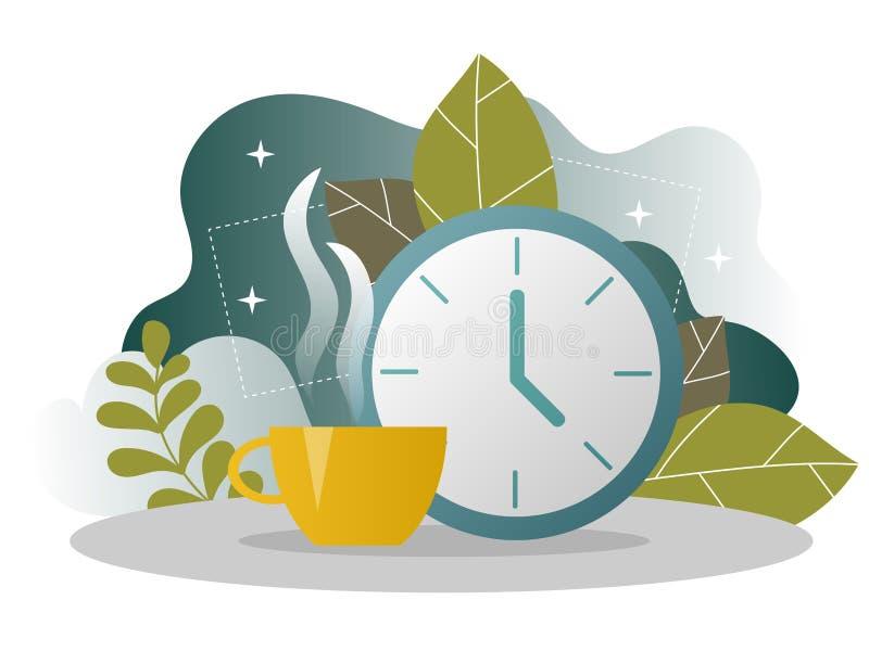 Sida för landning för affärskaffeavbrott LunchTid baner med den plana Websitemallen stock illustrationer