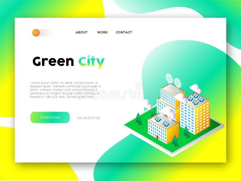 Sida för landning för app för rengöringsduk för grön stadseco vänlig stock illustrationer