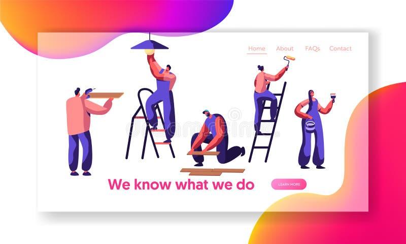 Sida för landning för arbetare för reparationsservice yrkesmässig Den mänskliga ändringsljuskulan, målar väggen, den lekmanna- la royaltyfri illustrationer
