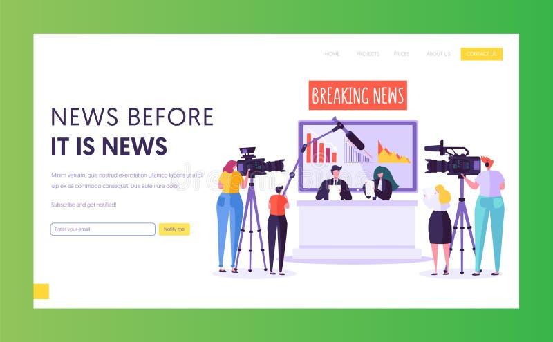 Sida för landning för begrepp för breaking newsprogram Videographer med kameraforsen i televisionstudio Reporter Character royaltyfri illustrationer