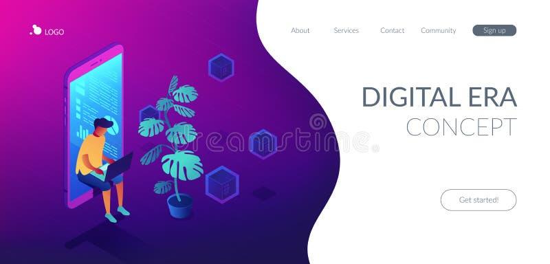 Sida för landning 3D för Digital era isometrisk royaltyfri illustrationer