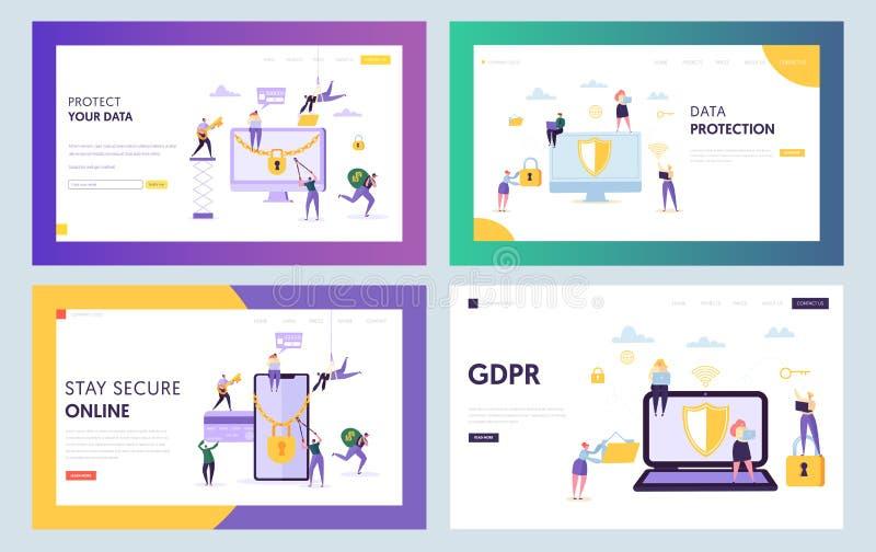 Sida för landning för Data Center säkerhetsbegrepp Tecken för affärsfolk med den anteckningsbokSmartphone uppsättningen Online-in royaltyfri illustrationer