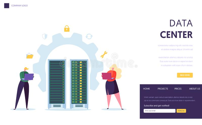 Sida för landning för Data Center serverpersonal Affärsteckenservice Datacenter med att vara värd för bärbar datordatordatabas royaltyfri illustrationer