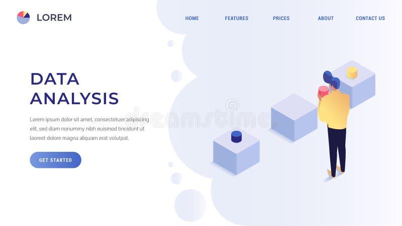 Sida för landning för dataanalys vektor illustrationer