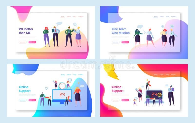 Sida för landning för online-globalt begrepp för teknisk service fastställd Dräkt för teamwork för talande man och för kvinnligt  stock illustrationer