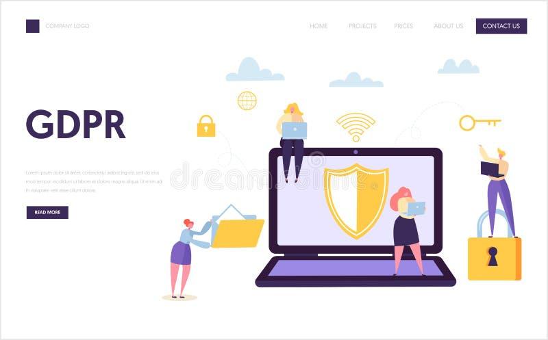 Sida för landning för säkerhet för rengöringsdukdatainternet Teknologiskydd för Digital information GDPR Affärstecken royaltyfri illustrationer