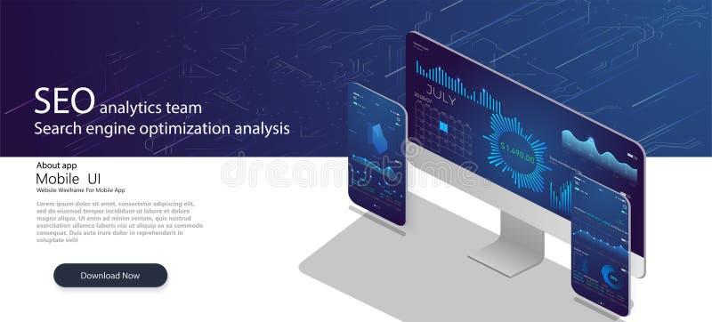 Sida för landning för SEO-analyticslag Analytiska webbsidor med diagram Begrepp för analys för sökandemotoroptimization vektor illustrationer