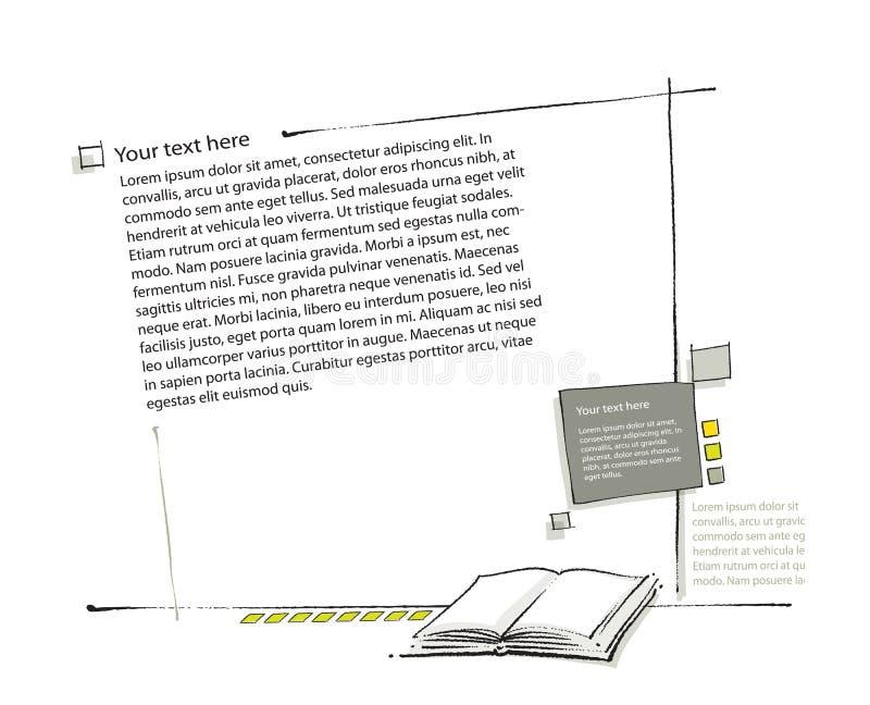 sida för orientering för bokteckningssymbol enkel bland annat royaltyfri illustrationer
