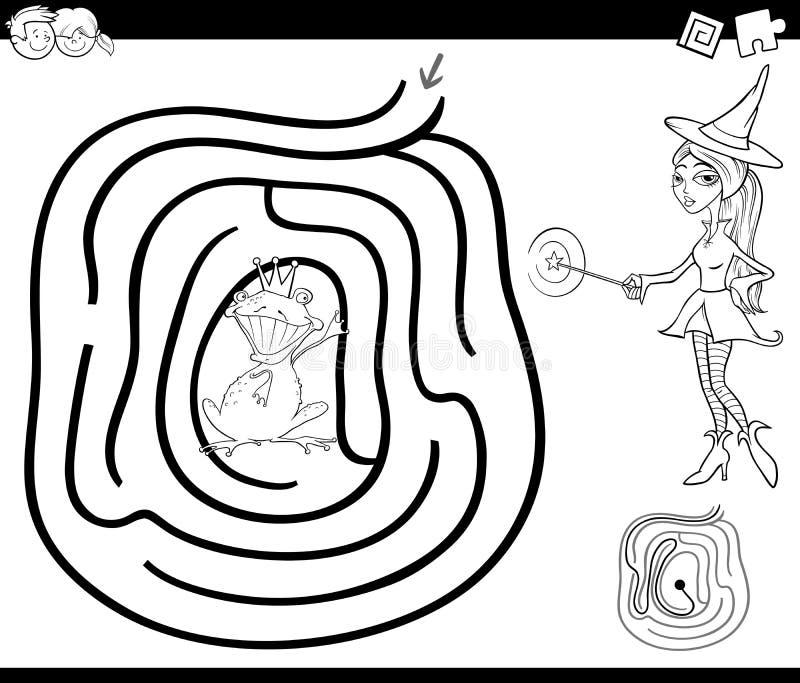 Sida för sagalabyrintfärgläggning royaltyfri illustrationer
