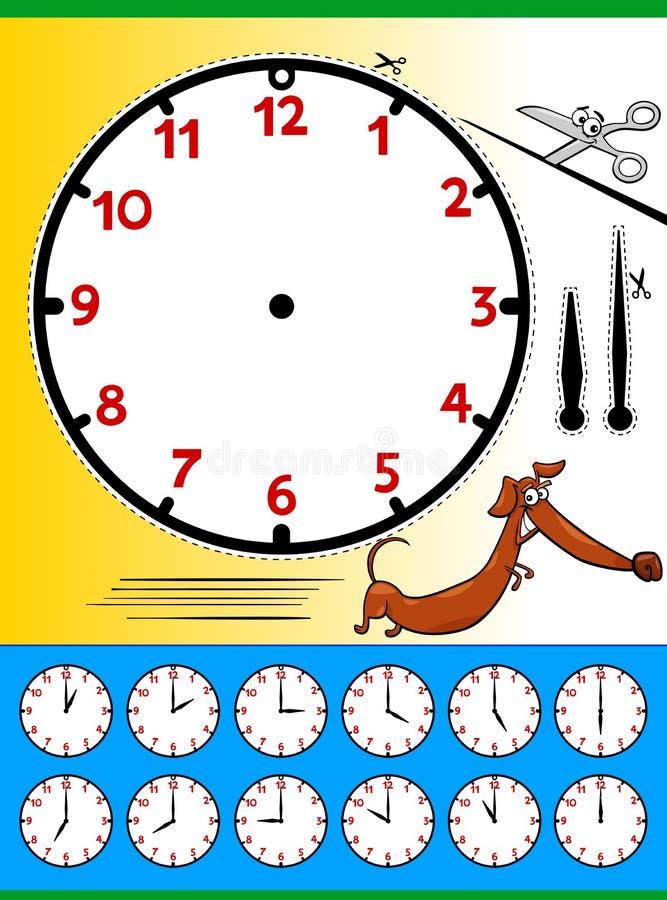 Sida för tecknad film för klockaframsida bildande royaltyfri illustrationer