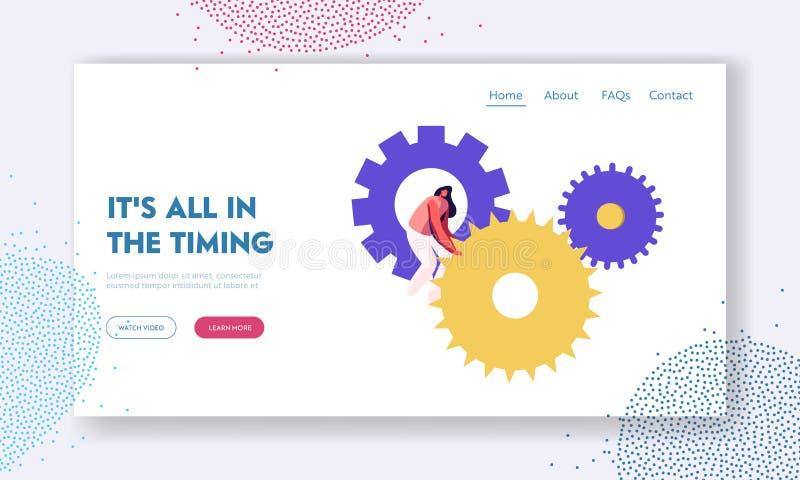 Sida för Tid Websitelandning, mycket litet kvinnatecken som vänder den enorma kugghjul- och kugghjulmekanismen av klockor eller k royaltyfri illustrationer