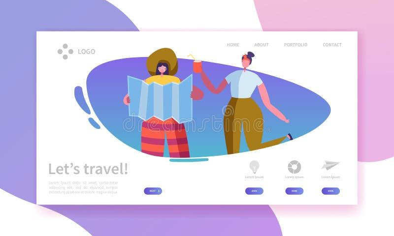Sida för turism- och loppbranschlandning Semester för sommarresandeferie med den plana mallen för folkteckenWebsite royaltyfri illustrationer