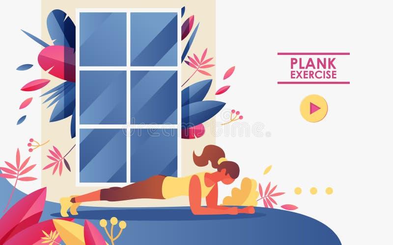 Sida för vektorbegreppslandning som är bra för webbplatser av idrottshallen och den hem- genomköraren Flicka som framme gör plank stock illustrationer