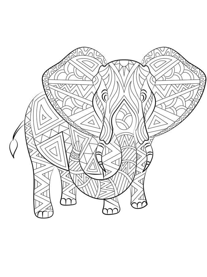 Sida för vektorelefantfärgläggning royaltyfri illustrationer