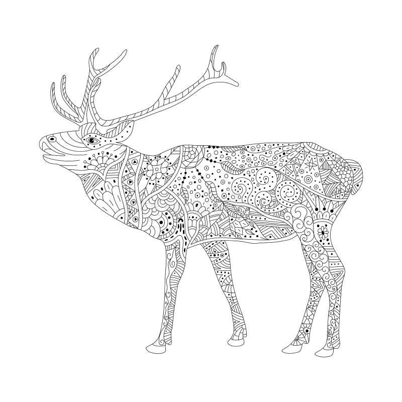 Sida för vektorfärgläggningbok för vuxna människor Mönstrad hjortteckning vektor illustrationer