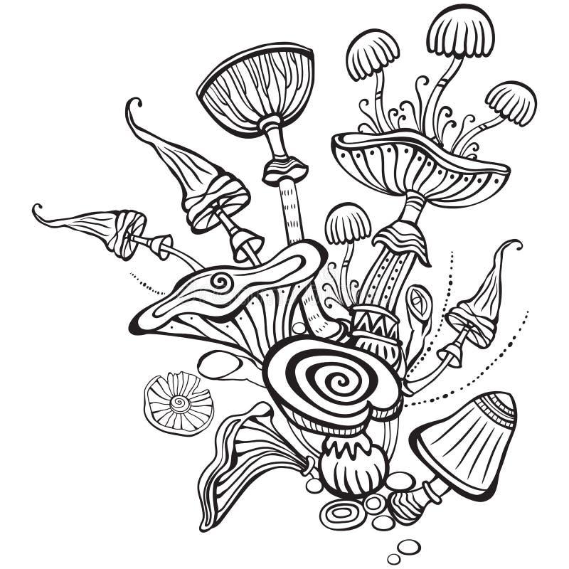 Sida f för färgläggningbok med champinjoner vektor illustrationer