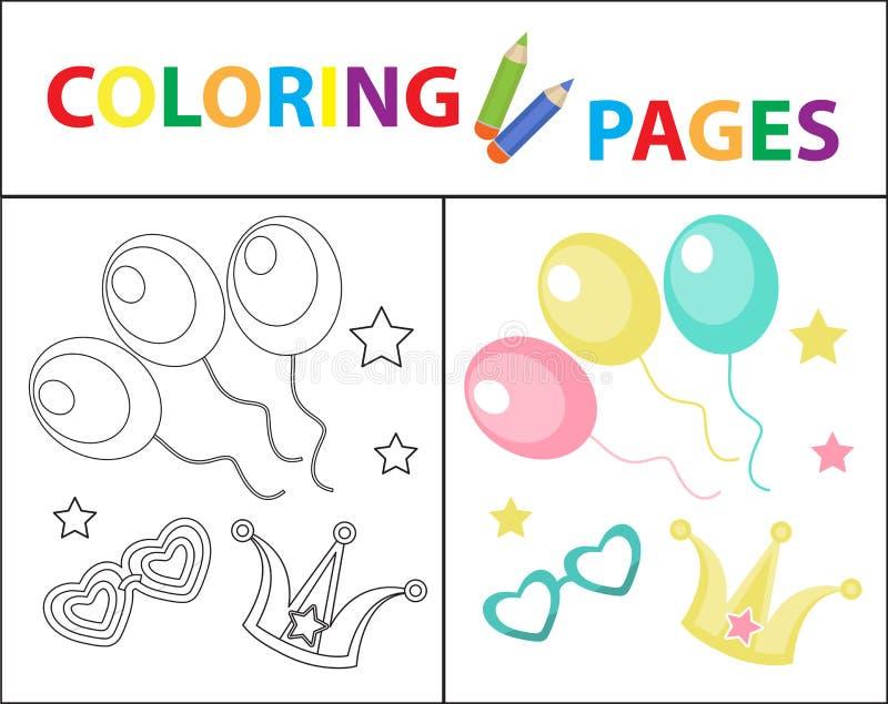 Sida f?r f?rgl?ggningbok f?r ungar Födelsedagballonger, karnevaluppsättning Skissa ?versikts- och f?rgversionen Barns utbildning stock illustrationer