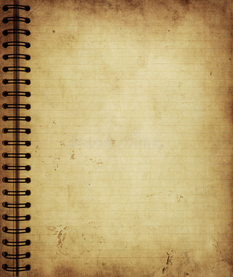 Sida från den gammala grungeanteckningsboken vektor illustrationer