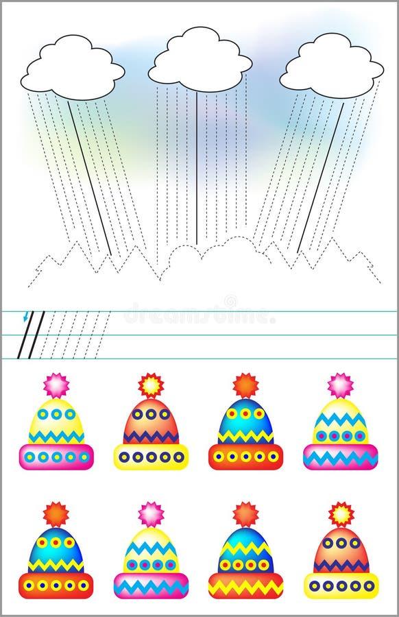 Sida med övningar för barn i linje Finna de samma locken och förbind dem vid en rak linje vektor illustrationer