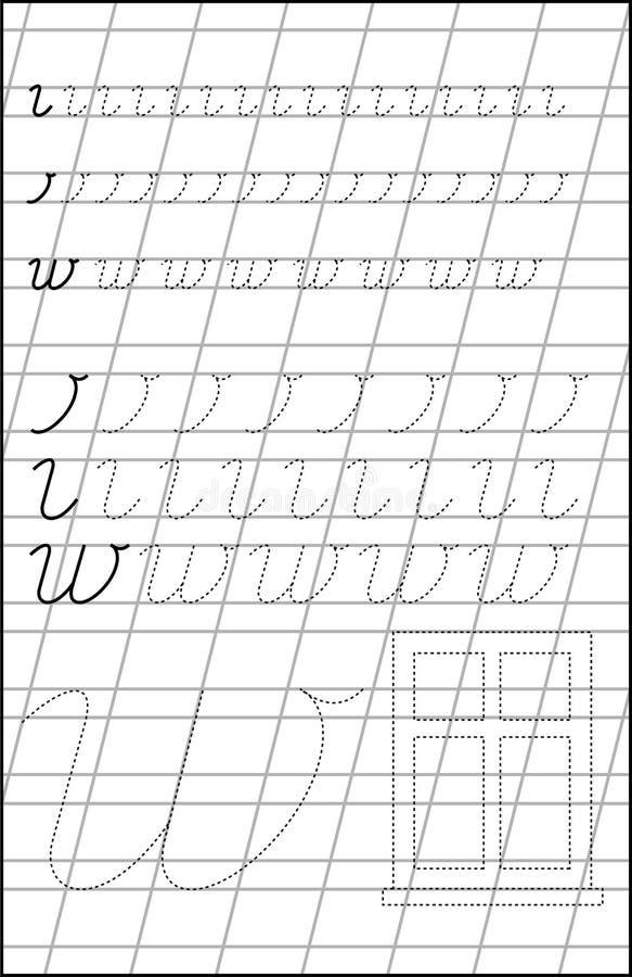 Sida med övningar för barn på ett papper i överensstämmelse med bokstav W vektor illustrationer