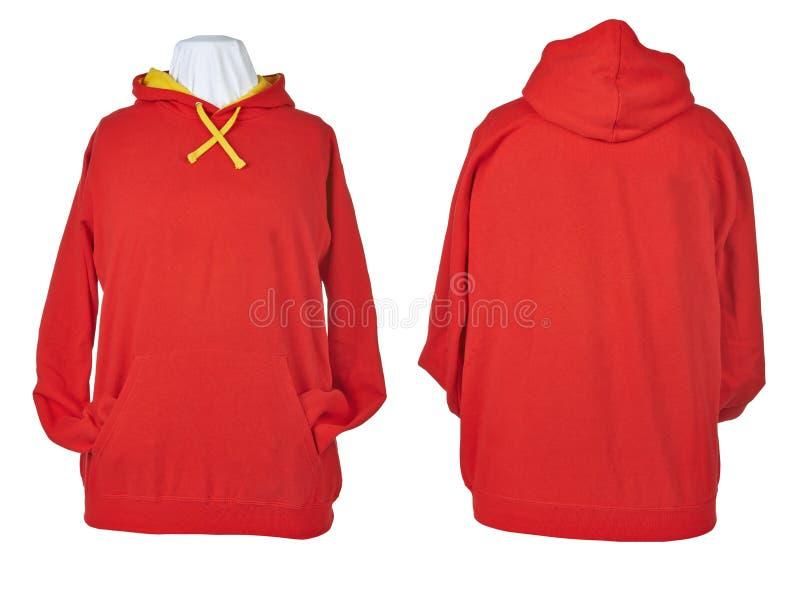 Sida två av rynkiga tomma röda skjortor royaltyfri foto