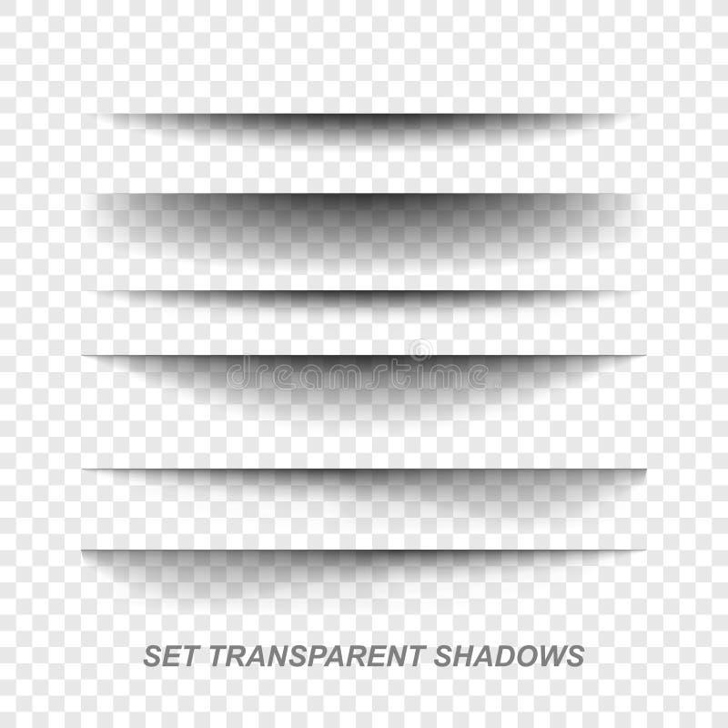 Sidaavdelare Genomskinlig realistisk pappers- uppsättning för skuggaeffekt Illustration i vektor royaltyfri illustrationer