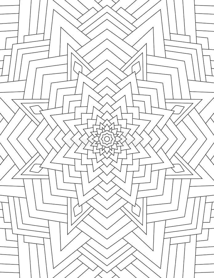 Sidafärgläggningboken för vuxen människamandalaen som dras med svart, fodrar på vektor illustrationer