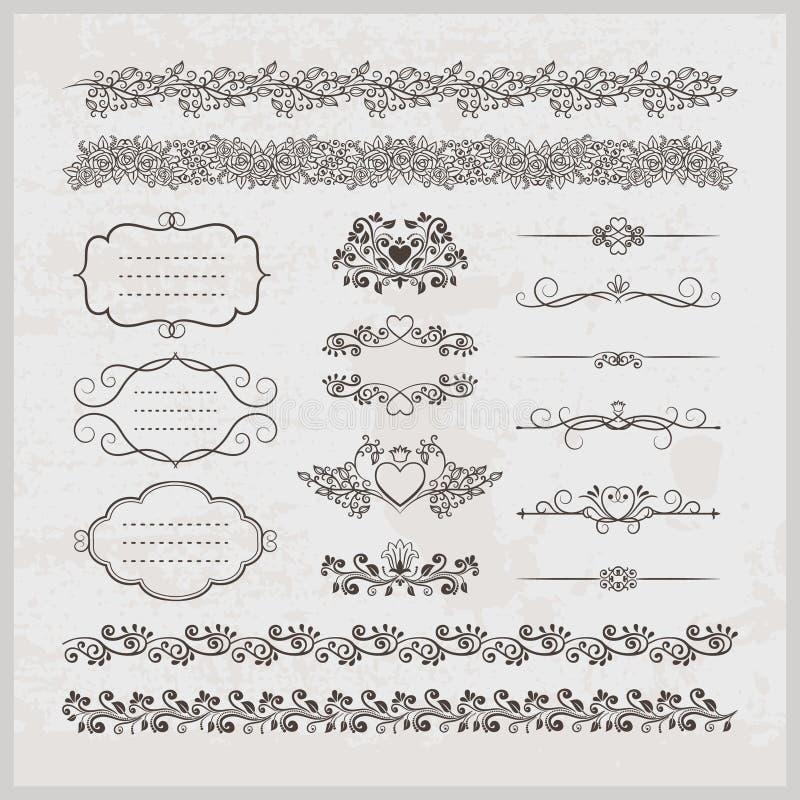Sidagarnering gränsar ramar och hjärtor vektor illustrationer