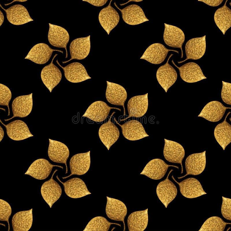 Sidamodell Guld- hand målad sömlös bakgrund Guld- illustration för abstrakt blad royaltyfri bild