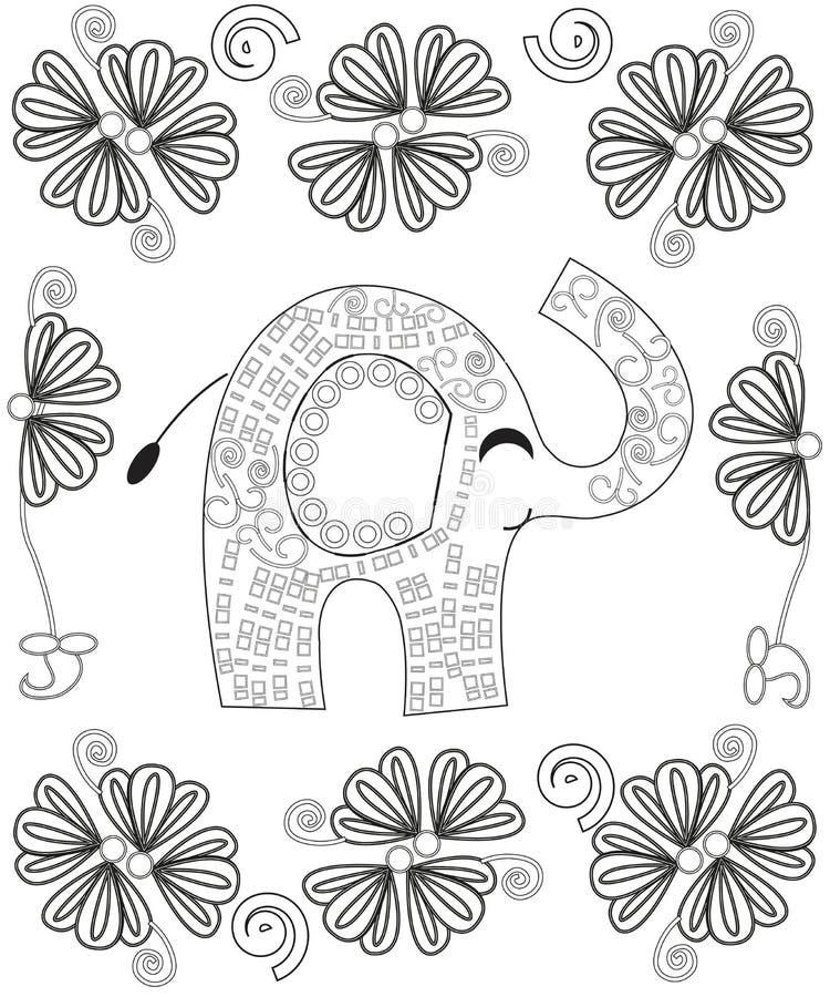 Sidan för färgläggningboken för vuxen människalinjen konstskapelsen, den hand drog elefanten kopplar av och meditationen vektor illustrationer