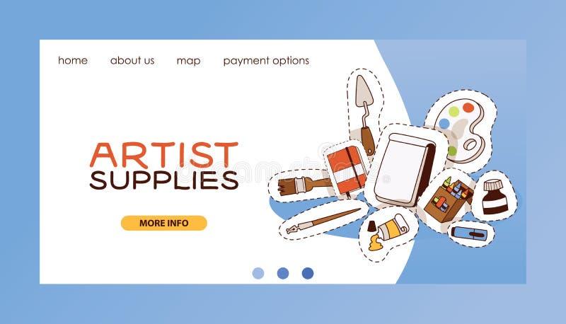 Sidan för landning för rengöringsduken för konststudiovektorn som studerar i konst-skola med målarfärg för konstnärhjälpmedelvatt royaltyfri illustrationer